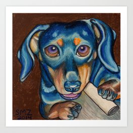 Puppy Chews A Bone Art Print