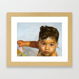 Baby In The Bath, Beautiful Photorealistic Bathtime Painting Framed Art Print