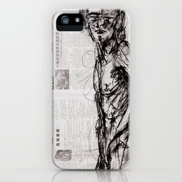 Saint - Charcoal on Newspaper Figure Drawing iPhone Case