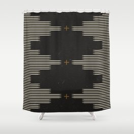 Southwestern Minimalist Black & White Shower Curtain