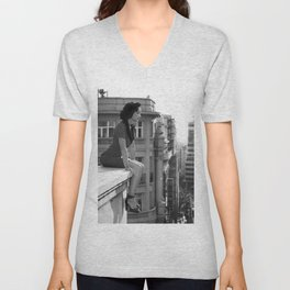 Woman on High, female form cityscape black and white photograph / photography Unisex V-Neck