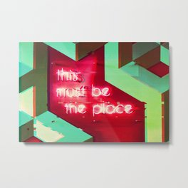 This Must Be The Place Neon Sign Glitch Aesthetic Metal Print