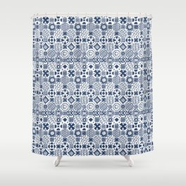 Indigo tiles Shower Curtain