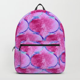 Watercolor Moroccan Quatrefoils in Magenta Pink and Blue Backpack