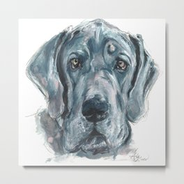 Baden // Blue Great Dane Metal Print