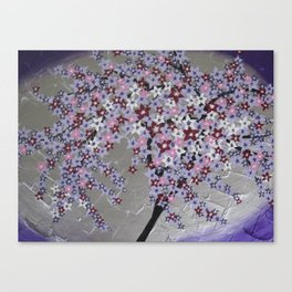 Japanese design designs in Purple and silver pink white grey gray cherry blossom blossoms  Canvas Print