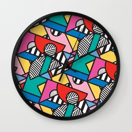 Colorful Memphis Modern Geometric Shapes Wall Clock