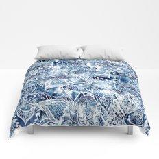 Modern navy blue tie die watercolor floral white boho hand drawn pattern Comforters