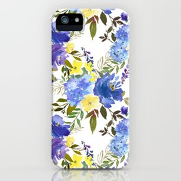 Violet yellow sky blue gold watercolor floral iPhone Case