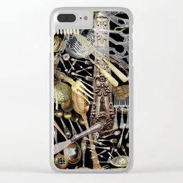 Antique Cutlery Clear iPhone Case