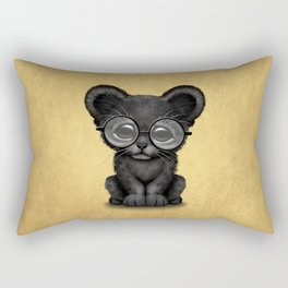 Cute Baby Black Panther Cub Wearing Glasses on Yellow Rectangular Pillow