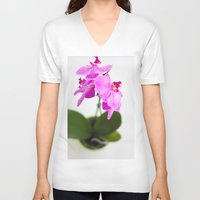 orchid V-neck T-shirts featuring Orchid by Darko Rikalo