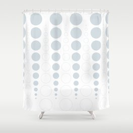 Up and down polka dot pattern in white and a pale icy gray Shower Curtain