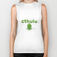 cthulu Biker Tanks featuring Cthulhu? by XANTHIER