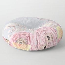 Floral Spring Greatings - Pastel Flowers Floor Pillow