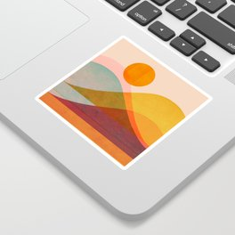 Abstraction_SUNSET_LANDSCAPE_POP_ART_Minimalism_018X Sticker