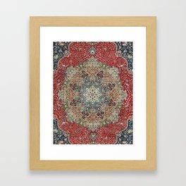 Antique Red Blue Black Persian Carpet Print Framed Art Print