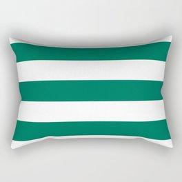 Bangladesh green - solid color - white stripes pattern Rectangular Pillow