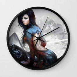 Huh... Hot girl on motorcycle Wall Clock