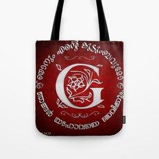 Joshua 24:15 - (Silver on Red) Monogram G Tote Bag