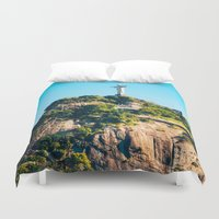 christ Duvet Covers featuring Christ Redeemer by Edgard Mello
