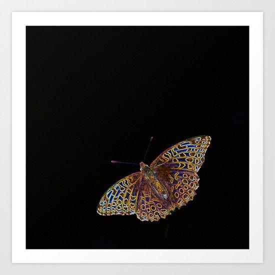 Butterfly on a black background Art Print