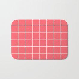 Coral Red Grid Bath Mat