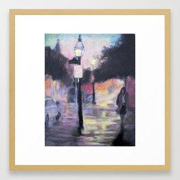 Rainy City Night Framed Art Print