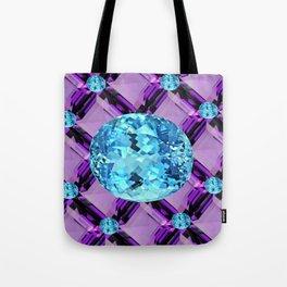 BLUE AQUAMARINES & PURPLE AMETHYST BIRTHDAY GEMS Tote Bag