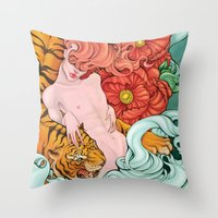 fierce Throw Pillows featuring Fierce by Kate Mana