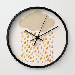 Cloud and drops mid century print Wall Clock