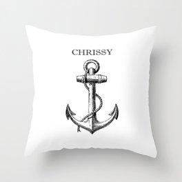 Chrissy Anchor - White Throw Pillow