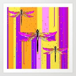 Purple-fuchsia  Dragonflies  Dreamscape Absract Art Print