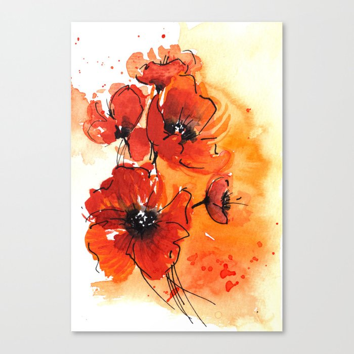 Red poppy flowers watercolor painting canvas print by red poppy flowers watercolor painting canvas print mightylinksfo