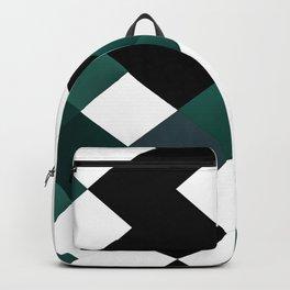 Emerald Green White Black Geometrical Pattern Backpack