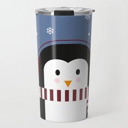 little penguin in snow Travel Mug