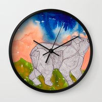 northern lights Wall Clocks featuring Northern Lights by Dawn Patel Art