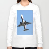 airplanes Long Sleeve T-shirts featuring ABX Air Boeing 767-232(BDSF) Miami Take-off Florida Airplanes  by Yan David
