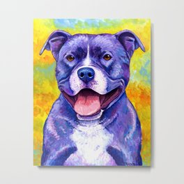 Peppy Purple Pitbull Terrier Colorful Dog Metal Print