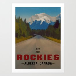Rocky Mountains Canada Vintage Travel Poster Art Print
