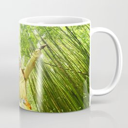 Eco-friendly travel hiker woman hiking in Bamboo forest - sustainable living happy Coffee Mug