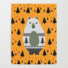 Cute bear, stripes and a fir forest Poster