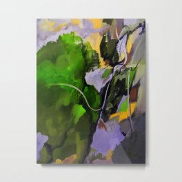 Lush Green Island Acrylic Abstract Metal Print