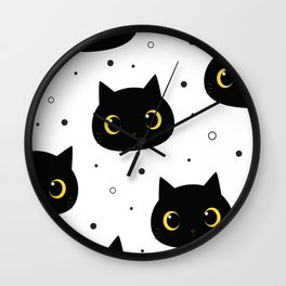 black cats pattern Wall Clock