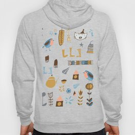 hygge cat and bird gray Hoody