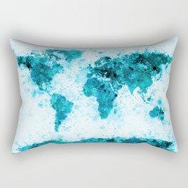 World Map Paint Splashes Blue Rectangular Pillow