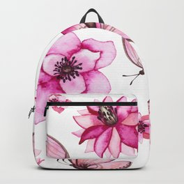 Pretty Pink Flowers & Butterfly's Backpack