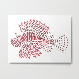 Tribal Lionfish Metal Print