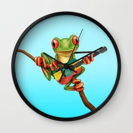 Tree Frog Playing Acoustic Guitar with Flag of Ethiopia Wall Clock