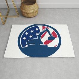 American Excavator USA Flag Icon Rug